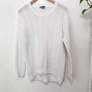 Vince Womens White Cotton Long Sleeve Round Neck Pullover Sweater Size XS